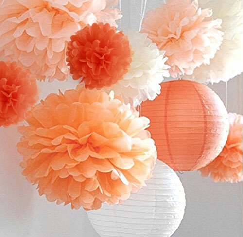 "Life Glow Pom Poms 12Pcs of 10"" 12"" 14"" Multi-Colors Tissue Paper Craft Pom Poms Flowers Wedding Party Decor"