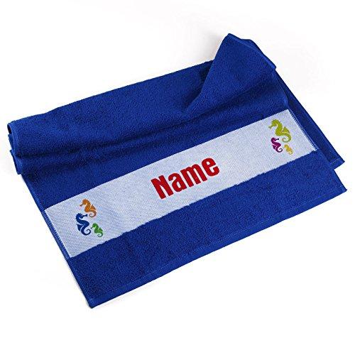 Herz & Heim® Handtuch 50 x 100 cm Seepferdchen mit Namensaufdruck Blau