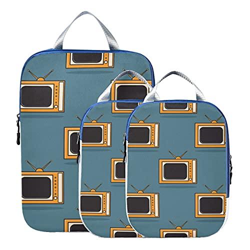 Kompressions-Reisetaschen Cartoon Retro-TV-Gepäck-Organizer-Taschen Erweiterbare Kompressionsverpackungswürfel für Handgepäck, Reise (3er-Set)