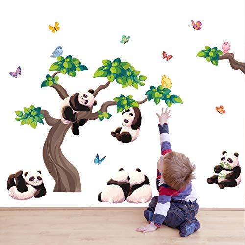 decalmile Stickers Muraux Panda Branche Autocollant Décoratifs Papillons Animaux Décoration Murale...