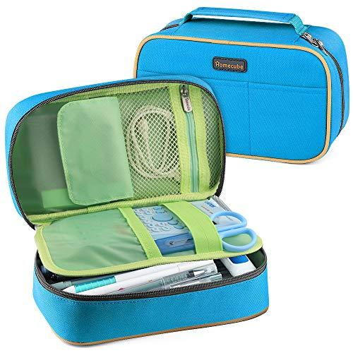 Federmäppchen, Homecube Federmappe 3 fach Federtasche Federetui Stiftbeutel für Jungen Mädchen große Kapazität mit Innenfach Innenkappe Reißverschluss (blue)