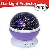 Star Light Projector, star light lamp, Night Lighting Lamp [4 LED Beads, 3 Model Light, USB Cord ] Toullfly colorful Night light, Romantic Rotating Starry Sky Projector for Kids Baby Bedroom (Purple)