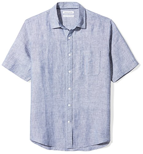 Amazon Essentials - Camicia da uomo a maniche corte, in lino, Regular Fit, Dainty, US S (EU S)