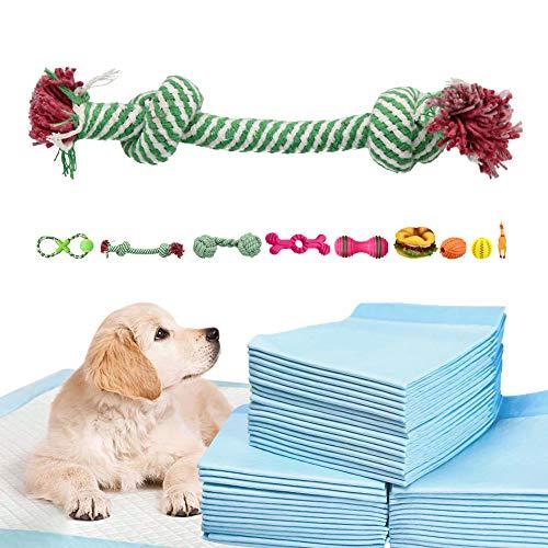 FUSIYU - 1 Pieza Juguetes para Perros al Azar + Empapadores Perros Toallitas de Entrenamiento(M:60cm x 60cm, 120 Unidades), para Perrito Pequeño Medio
