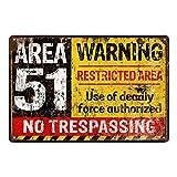 Doitsa 20x30cm Señal de Advertencia Area 51, Cartel de Chapa Placa...