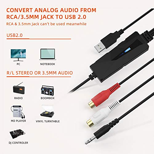 V.TOP USB2.0 Analog Audio Capture Card Device Compatible for Windows 10/8 / 7 and Mac OS 10.14 (USB Analog to Digital Converter)