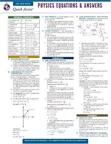 Physics Equations and Answers - REA's Quick Access Reference Chart (Quick Access Reference Charts)