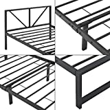 [en.casa] Metallbett 90x200 cm Bettgestell mit Latten Einzelbett bis 200 kg Metallgestell Schwarz - 6