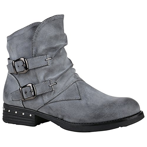 Leicht Gefütterte Damen Stiefel Biker Boots Schnallen Stiefeletten Schuhe 150217 Grau Schnallen Nieten 38 Flandell