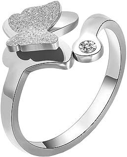 Anello Donna Titanio,Fascia Aperta Farfalla Satinata per Fidanzamento, WLG, acciaio, taglia 7