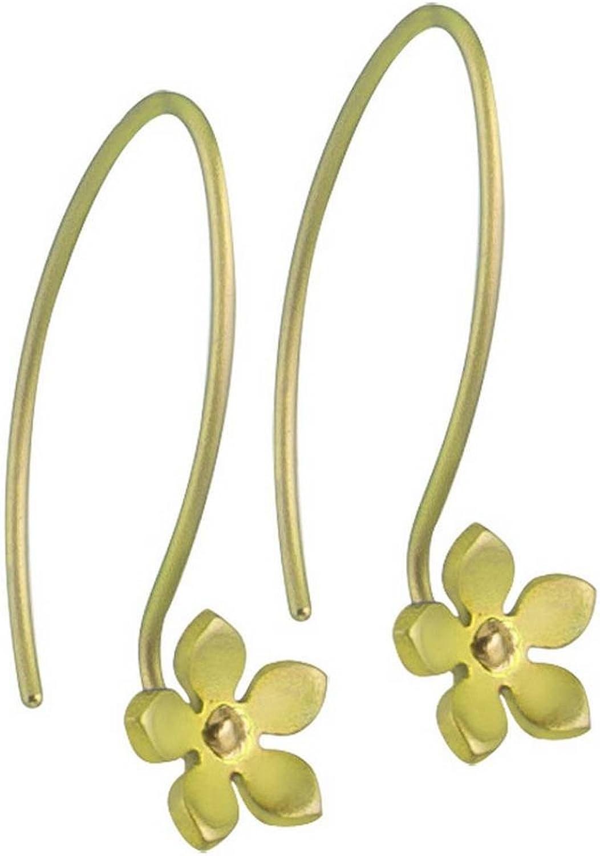 Ti2 Titanium Womens 8mm Five Petal Flower Drop Earrings  Lemon Yellow