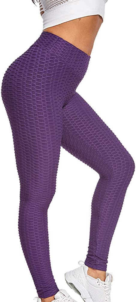 LUODITO Womens High Waist Yoga Pants Tummy Control Workout Ruched Butt Lifting Stretchy Leggings Textured Booty Tights