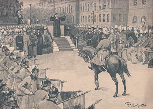 Wilhelm II., Kaiser von Deutschland - Die Weihe der den 4. Bataillonen verliehenen Fahnen vor dem Denkmal Friedrich´s des Großen in Berlin am 18. Oktober 1894. [Grafik]