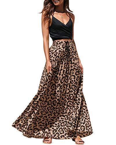 Womens Maxi Skirt Leopard Print Chiffon Beach Pleated High Waisted A-Line Long Skirts (Medium, Yellow 1)
