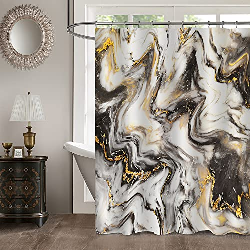 MitoVilla Black Gold Marble Shower Curtain Set, Abstract Modern Shower Curtain for Bathroom Decor, Luxury Standard Shower Curtain Liner for Bathtub, Waterproof Washable Fabric Shower Curtain, 72 x 72