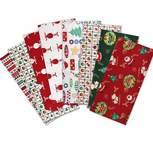 Travistar Tela de Algodón Patchwork Paquete de tela de Flores patrón Floral de Costura de Material Textil Manualidades Retales Algodón para Coser DIY Bricolaje (8PCS-Christmas puzzle)