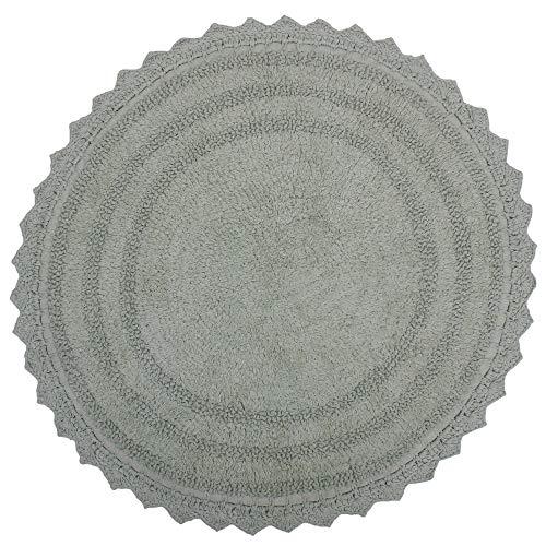 RAJRANG BRINGING RAJASTHAN TO YOU Alfombra de baño de Crochet de algodón Suave con diseño Redondo - Alfombrillas para baño, Ducha, bañera, Lavabo, Inodoro - (24 Pulgadas, Lila)