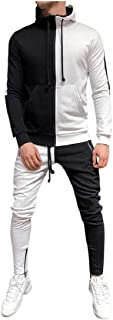 Men's Tracksuit Set Color Block Hoodie 2 Piece Joggers and Pants Athletic Sports Casual Full Zip Sweatsuit Set by Lowprofile