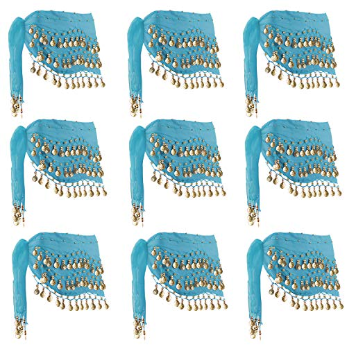 Cosics Dance Hip Scarf Shawl, 10PCS Blue Gold Coins Belly Dancing Scarf Wrap Belt, Chiffon Triangle Dangling Hip Skirt Waist Chain for Halloween Costume, Swimsuit Cover