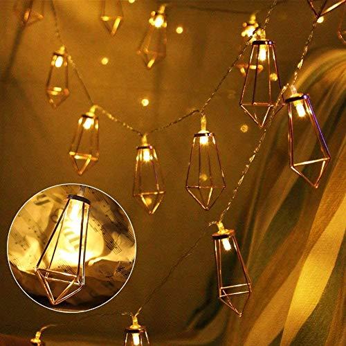 Geometrische LED Lichterkette, LED Lichterkette, Roségold Metall LED String Light 10 LED Batteriebetrieben für Schlafzimmer Hochzeit Weihnachten Party Halloween Dekoration (Batterie nicht enthalten)