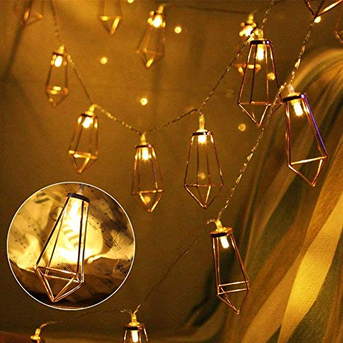 Luces de Cadena LED Geométricas, Oro Rosa Diamante Luz de Navidad, Cadena de luz LED, Portable Luz secuencia de hadas luces for jardín, hogar, Navidad, decoración de cumpleañ