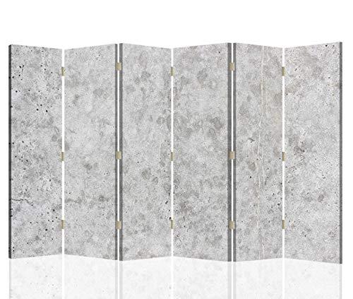 Feeby Biombo con Corcho Abstracción 6 Paneles Bilateral Mármol Piedra Gris 216x175 cm