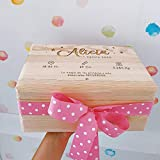 MONAMÍ - Caja Natalicio de Madera Personalizada. Madera de Pino grabada, Medidas 30x20x13 cm. (Rosa)
