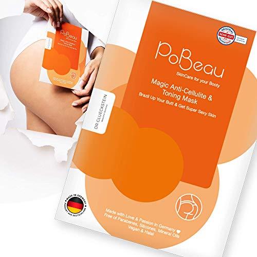 PoBeau® Anti-Cellulite Hydrogel Po-Maske mit Koffein und Carnitin - Straffungseffekt durch Power-Wirkstoffkomplex aus Senfsprossen und Capsaicin - Entschlackung und...