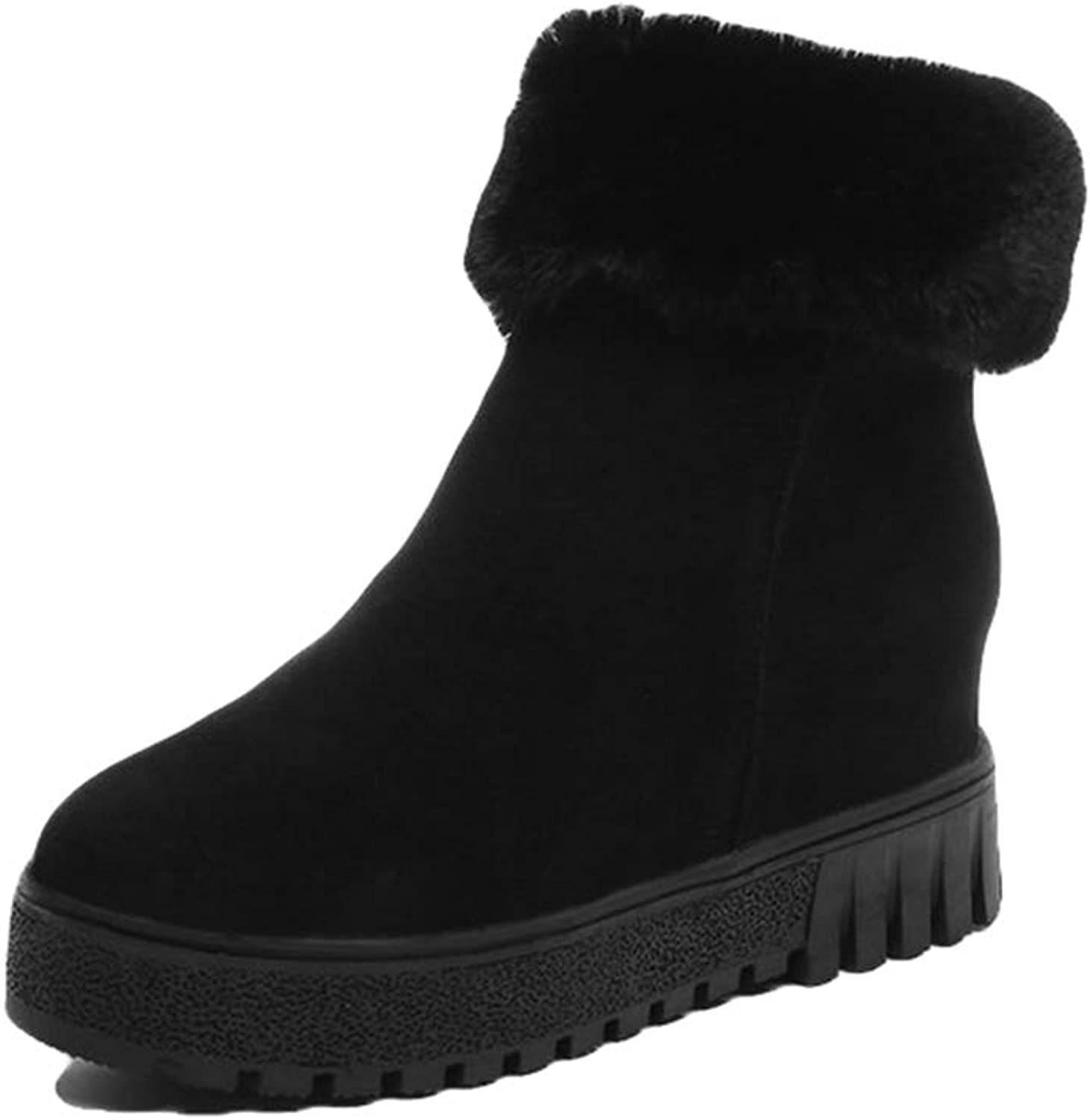York Zhu Women's Faux Fur Boots,Winter Snow Boot Suede Flat Ankle Boots