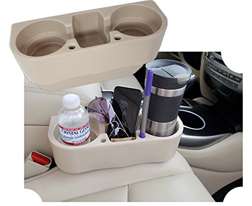 Universal Auto | Car Seat Drink Cup Holder Cell Holder Storage Bin, with Pen Hole - Beige