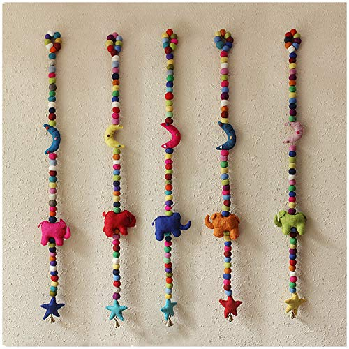 Genericcc Home Wall Decoration Handmade Adorable Elephant Moon & Star Ornaments 100% Wool Felt Ball Garland Colorful Pom Pom with Bell