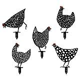 Thermohealth Divertida decoración de jardín, gallo y gallina, 5 unidades, figuras de jardín para exteriores, enanos de jardín, decoración para exteriores (5 unidades)