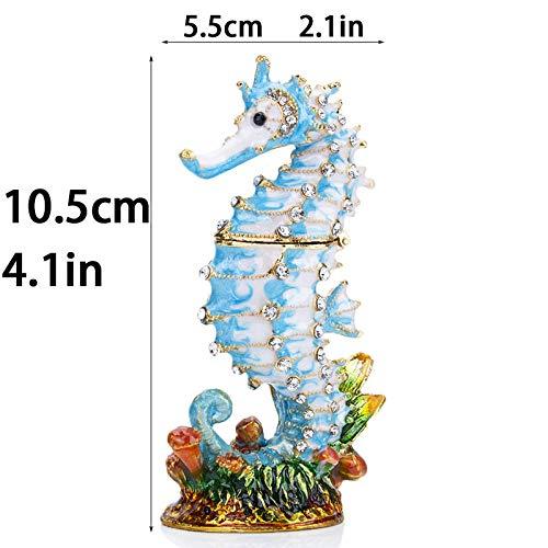 QIBAJIU Gartenstatuen Ornamente Skulptur Schmuckschatulle Kristall Emaillierter Seepferdchen Ringhalter Handgemachte Figur Sammlerstück