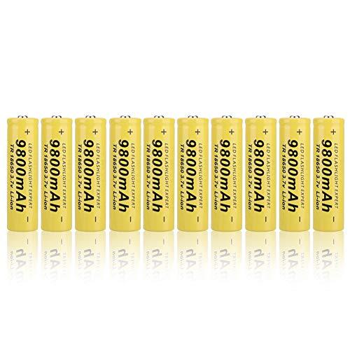 Weikeya 18650 Batería, Amarillo Batería Cargador 9800mAh Hecho de Abdominales Producción Capacidad por Linterna Computadora portátil Multi-Funcional (Amarillo)
