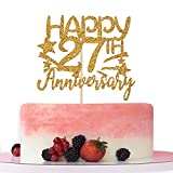 Gold Glitter Happy 27th Anniversary Cake Topper for Wedding Anniversary/Anniversary Party/Happy Birthday Party Decorations