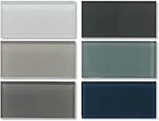3x6 Glass Subway Tile Sample Combo Pack - White, Gray and Blue