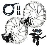 Kit de Freno de Disco Mecánico, Aleación de Aluminio, Pinza de Freno Delantero, Palanca de Cambios, Ccable de Freno, Cable de Desviador de Rotor para Bicicleta de Carretera G3 MTB (Black)
