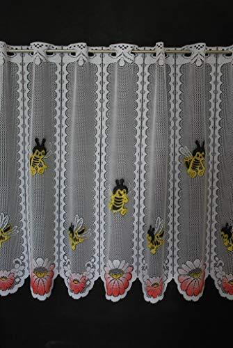 Scheibengardine für Kinder Biene 60 cm hoch   Breite der Gardine durch gekaufte Menge in 24,5 cm Schritten wählbar (Anfertigung nach Maß)   weiß mit bunt   Vorhang Küche Wohnzimmer