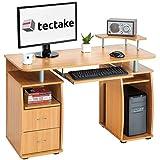tectake Bureau Informatique Table de l'ordinateur avec de Nombreux rangements - diverses Couleurs au Choix - (Hêtre | no. 401667)