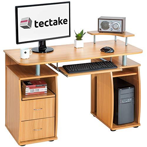 TecTake Scrivania Porta PC Computer Tavolo Ufficio con ripiano Tastiera e 2 cassetti - Disponibile in Diversi Colori - (Faggio | No. 401667)
