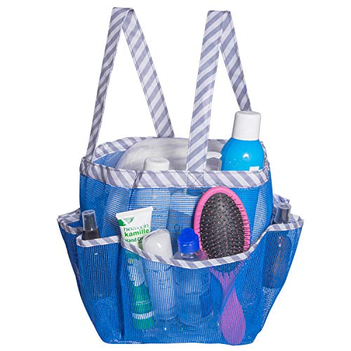 Attmu Mesh Shower Caddy Quick Dry Shower Tote Bag Oxford Hanging Toiletry and Bath Organizer with 8 Storage Compartments for Shampoo Conditioner Soap and Other Bathroom Accessories Blue Stripe