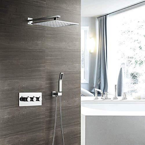XUSHEN-HU Ducha oculta termostática de dos funciones cromada de ducha oculta montado en la pared de ducha Set de baño delicado al por mayor
