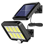 LMIX 2021 Applique Solare per Esterni, Luce Sensore Diviso con Sensore di Movimento PIR, Luce da Giardino Impermeabile Solare, Cavo da 5M / 160 LED / 3 Modalità