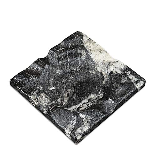 MAYROOM Natural Stone Marble Cigarette Cigar Ashtray for Man Women Outdoors Indoors Square Desktop Smoking Ash Tray for Home Office Patio Decoration Gift (Galaxy Starry Sky, 5.1×5.1×0.78 inch)
