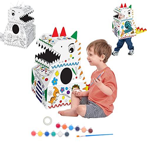 QIUXQIU DIY 낙서 판지를 위한 아이는 색칠하기 낙서 마분지 손으로 그린 미술 장난감 착용할 수 있는 3D 삼차원 퍼즐 장난감 낙서 종이 공룡을 개선하는 능력을 손에미(A)
