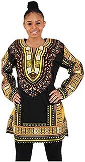 Camisa unisex de manga larga, diseño africano, color negro y dorado, tallas medianas a 3XL