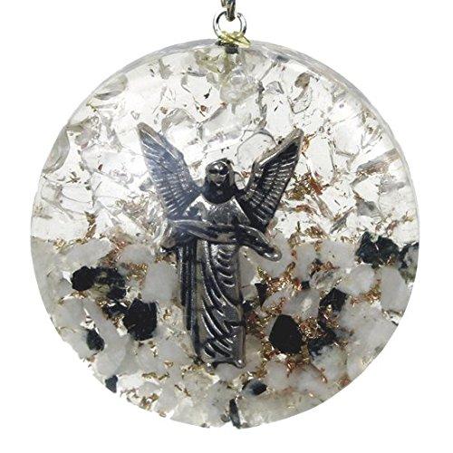 Reiki Energy Charged aartsengel Gabriel Orgone kristallen hanger met maansteen 7 helder kwarts en zilveren ketting (prachtig geschenkverpakking)