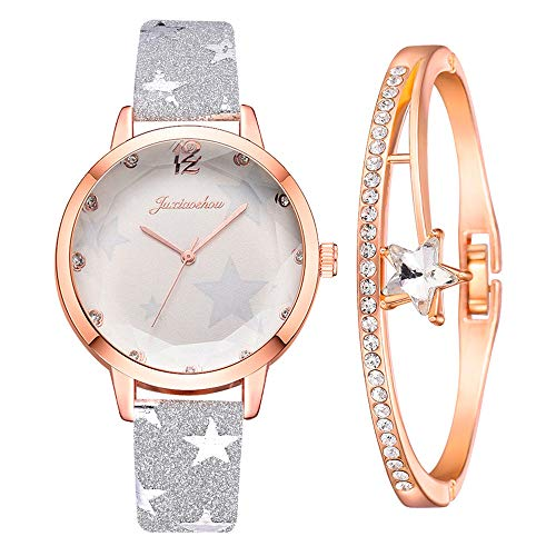 Dorical Damen Uhren Analog Quarz Edelstahl Armband Ultradünne Set mit Armreif,Geschenk für Frauen Perfect Match - Freundin,Mama oder SchwesterGeschenk Set aus Armbanduhr und Armband (ZH&Grau)