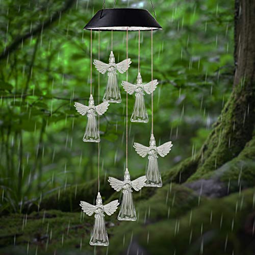 X-PREK Memorial Angel Wind Chimes for Mom's Best Gifts,Solar Color Changing Waterproof Wind Chime Birthday Gifts for Mom/Grandma Outdoor Indoor Decor