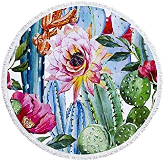 Matawawa Cactus Flower Large Thick Round Circle Beach Blanket Towel with Tassels, Suitable for Camping